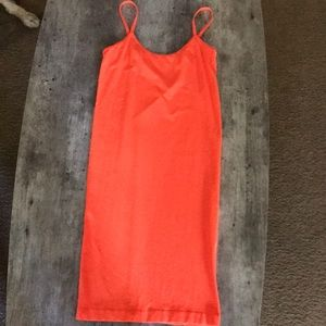 Neon orange bodycon dress